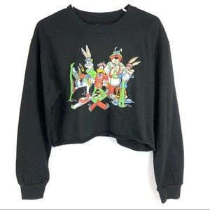 LOONEY TUNES black cropped graphic tee